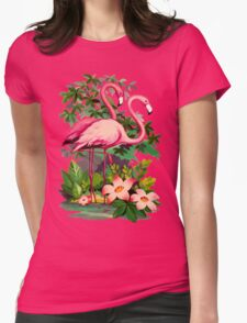 Retro Pink Flamingos Womens Fitted T-Shirt