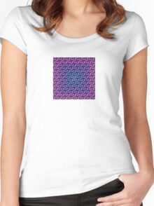 Seamless Geometric  In Aqua, Lilac and Pink Women's Fitted Scoop T-Shirt