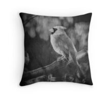 Red Bird In Black And White Throw Pillow
