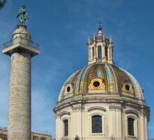 Column Of Trajan and Santissimo Nome di Maria al Foro Traiano Church - Rome Sticker