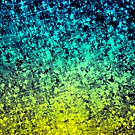 OMBRE LOVE Colorful Midnight Blue Lime Green Citrine Galaxy Print Space Painting by EbiEmporium