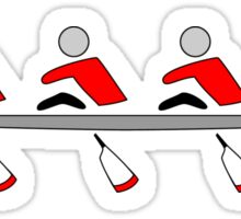 Rowing - 4+, red & black, light background Sticker