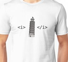 Leaning Tower of Italics Unisex T-Shirt
