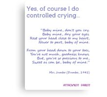 Natural Parent #3: My Version of Controlled Crying Canvas Print