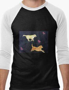 Golden Retrievers.  Print of Embroidered Textile Men's Baseball ¾ T-Shirt