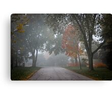 Fall road with trees in fog Canvas Print