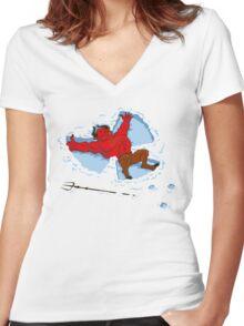 """I Wish I Were"" Snow Devil Women's Fitted V-Neck T-Shirt"
