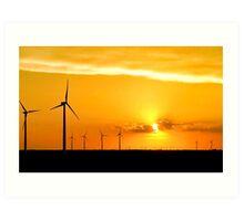 Wind Farm at Sunset Art Print