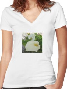 Overhead View Of Two Calla Lilies In A Garden Women's Fitted V-Neck T-Shirt