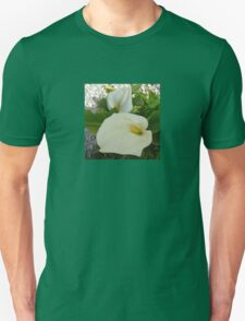 Overhead View Of Two Calla Lilies In A Garden Unisex T-Shirt