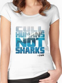 Cull Humans Not Sharks Women's Fitted Scoop T-Shirt