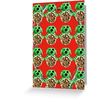 Zombies & Fruit (Red Background Design) Greeting Card