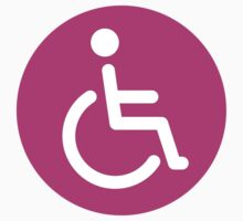 Hot pink disabled symbol, round stickers by Mhea