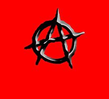 ANARCHY, ANARCHIST, Revolution, Protest, Disorder, Unrest, Symbol on red in black by TOM HILL - Designer