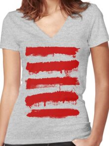 Rebel Stripes Women's Fitted V-Neck T-Shirt