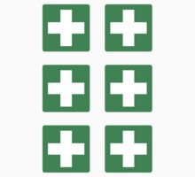 First aid symbol stickers, white cross on green background by Mhea