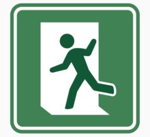 Green emergency exit symbol stickers, green border by Mhea