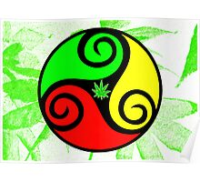 Reggae Love Vibes - Cool Weed Pot Reggae Rasta T-Shirt Stickers and Art Prints with Grunge Texture Poster