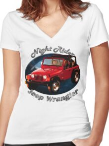 Jeep Wrangler Night Rider Women's Fitted V-Neck T-Shirt