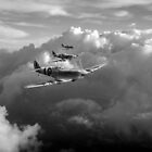 Spitfires among clouds black and white version by Gary Eason