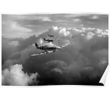 Spitfires among clouds black and white version Poster