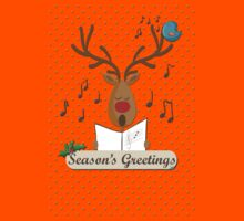 Reindeer Singing Christmas Carols Cartoon Illustration by cecko90