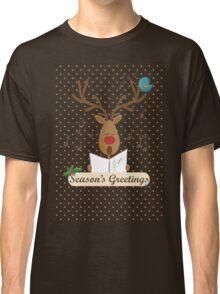 Reindeer Singing Christmas Carols Cartoon Illustration Classic T-Shirt