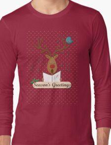 Reindeer Singing Christmas Carols Cartoon Illustration Long Sleeve T-Shirt