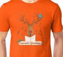 Reindeer Singing Christmas Carols Cartoon Illustration Unisex T-Shirt