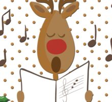 Reindeer Singing Christmas Carols Cartoon Illustration Sticker
