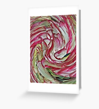 Floral Abstract Pink And White Greeting Card