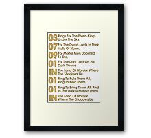 The Verse Of The Rings Framed Print