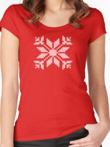 Knitted Snowflake Women's Fitted Scoop T-Shirt
