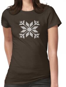 Knitted Snowflake Womens Fitted T-Shirt