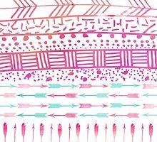 Trendy pink teal watercolor arrows tribal pattern  by Maria Fernandes