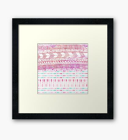 Trendy pink teal watercolor arrows tribal pattern  Framed Print