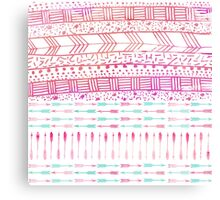 Trendy pink teal watercolor arrows tribal pattern  Canvas Print