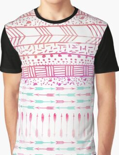 Trendy pink teal watercolor arrows tribal pattern  Graphic T-Shirt