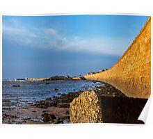 Burghead beach wall. Poster
