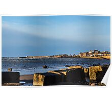 Burghead beach getting stormy. Poster