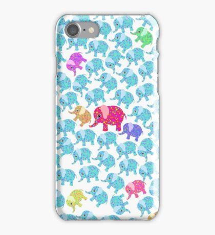 Pink teal abstract floral whimsical elephants  iPhone Case/Skin