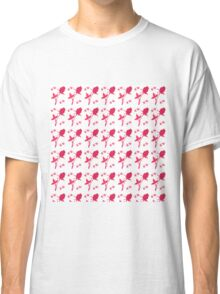 Abstract girly fuchsia white floral pattern Classic T-Shirt