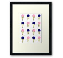 Pink & Blue Ice Cream Cones Framed Print