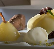 Braised Williams Pear with chocolate bonbon mousse by Stefan Bau