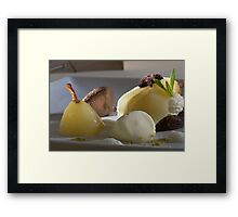 Braised Williams Pear with chocolate bonbon mousse Framed Print