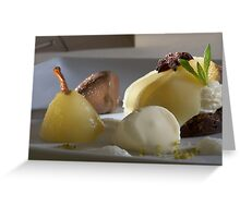 Braised Williams Pear with chocolate bonbon mousse Greeting Card