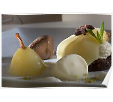Braised Williams Pear with chocolate bonbon mousse Poster