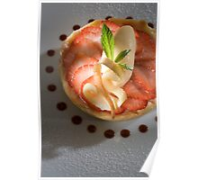 Woodruff tart with strawberries and champagne ice cream h Poster
