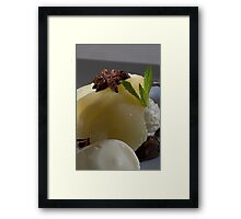 Braised Williams Pear with chocolate bonbon mousse h Framed Print