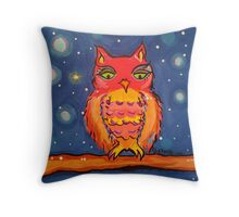 Little owl waiting for the snow Throw Pillow